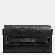 COACH Pebbled Leather Coach Swagger Wallet 黑色时尚钱包 $109.99(约797元)