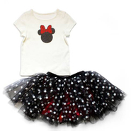 小女孩逛迪士尼最佳装扮~~DISNEY BY TUTU COUTURE Minnie Tee & Dotted Skirt 迷你图案T恤 + 波点印花半身裙