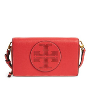 Perforated Leather Wallet Crossbody Bag 红色真皮斜挎小包